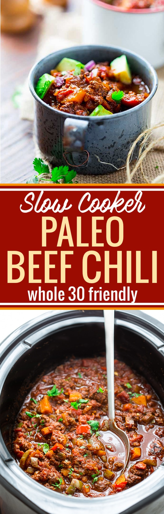 This paleo beef chili is not only easy to make in the slow cooker, but also full of flavor! Loaded with sweet potatoes, beef, spices, tomatoes, and more. It's whole 30 friendly, quick to prep, and pure comfort food. Hearty yet healthy! www.cottercrunch.com