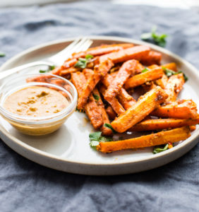 Easy Peri Peri Oven Baked Carrot fries {Paleo, Vegan}