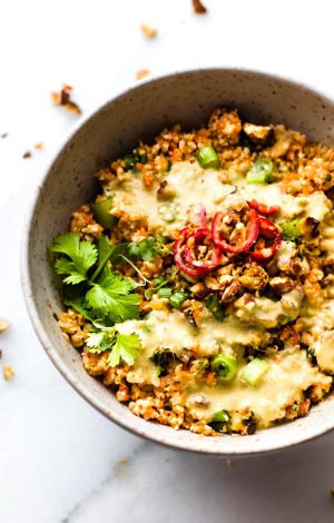 Thai Carrot Cauliflower Rice Salad with Avocado Cream Dressing {Paleo, Vegan}