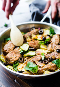 Mediterranean Marinated Balsamic Pork Loin Skillet {Paleo}
