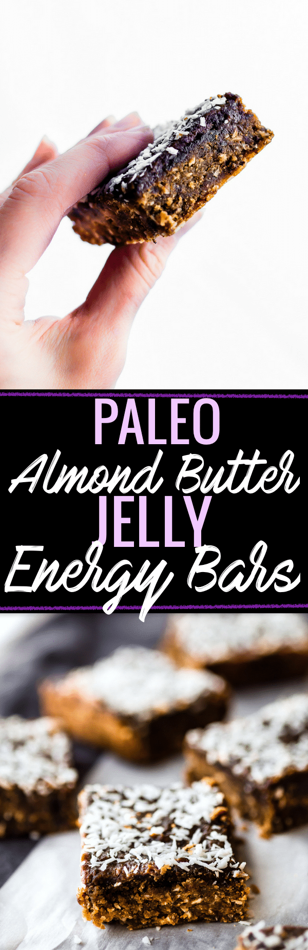 TThese Paleo Almond Butter Jelly Energy Bars are one of our favorite bars that fuel us for workouts and snacking on the go. Made with few ingredients; no oils and no sugar added. Blended and Baked in just 30 minutes, Which makes them pretty amazing! So chewy and flavorful that you'd never know they were healthy. Freezer friendly. www.cottercrunch.com