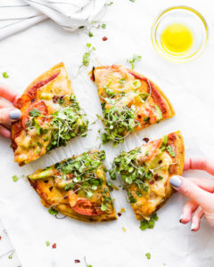 Avocado Tomato Gouda Socca Pizza {Grain Free}