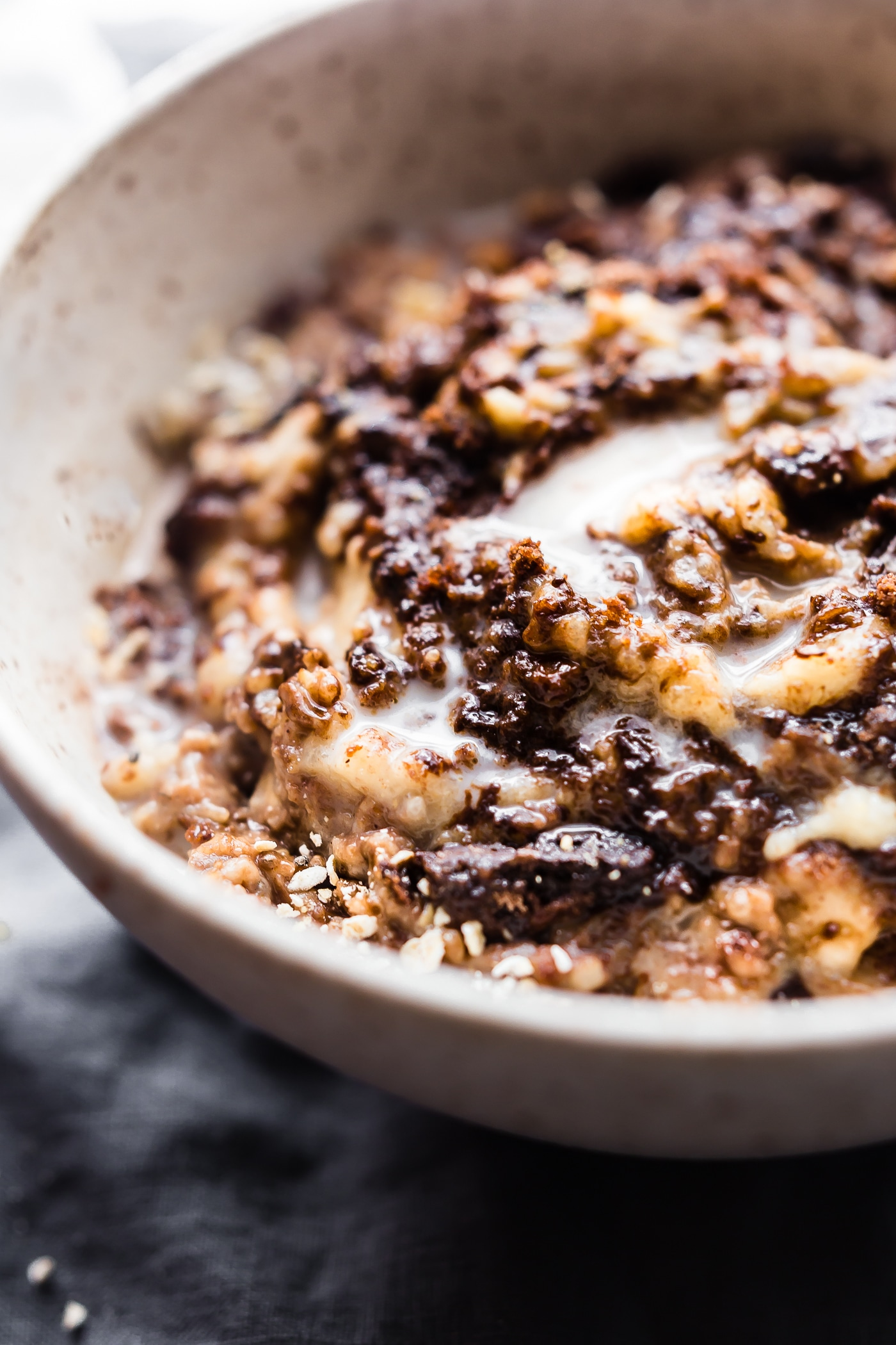 "This dairy free Boston Cream Pie Banana Oatmeal is a gluten free ""superfood"" breakfast treat! A banana oatmeal recipe that tastes like dessert, yet satisfying and nourishing! Made with natural ingredients and packed with protein. Perfect for post workout recovery, a hearty breakfast, or just pure bliss"