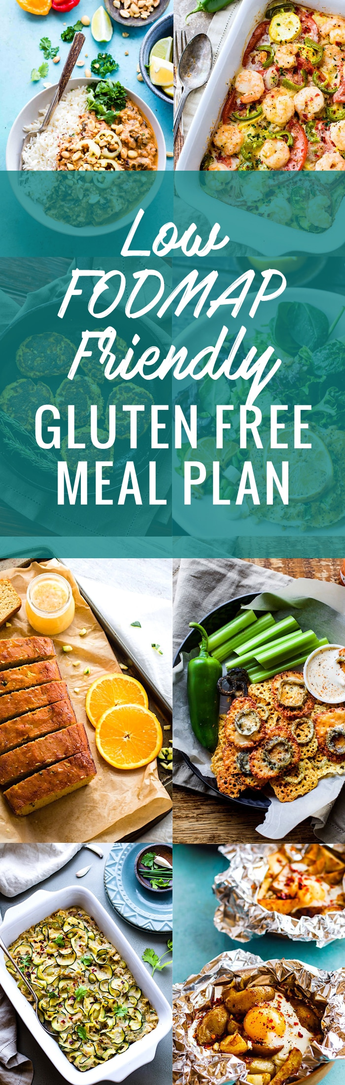 This Low FODMAP friendly Gluten Free Meal Plan is a great tool to help you resolve those pesky digestive issues. Learn what FODMAPS are, what foods they come from,  and how limiting them could possibly (temporarily)  relieve common digestive disorders and discomfort.