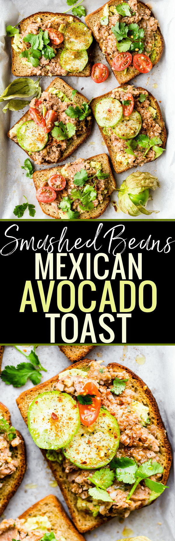 Gluten Free Smashed Mexican Beans Avocado Toast recipe! A heartier yet Healthy take on Avocado Toast Recipes. This Fully Loaded MEXICAN style avocado toast is Vegan Friendly and loaded with Flavor!! A simple, yet spicy, meatless meal, breakfast, or even a quick appetizer. www.cottercrunch.com