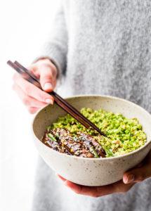 "Saucy Paleo Mongolian Beef Broccoli ""Rice"" Bowls"