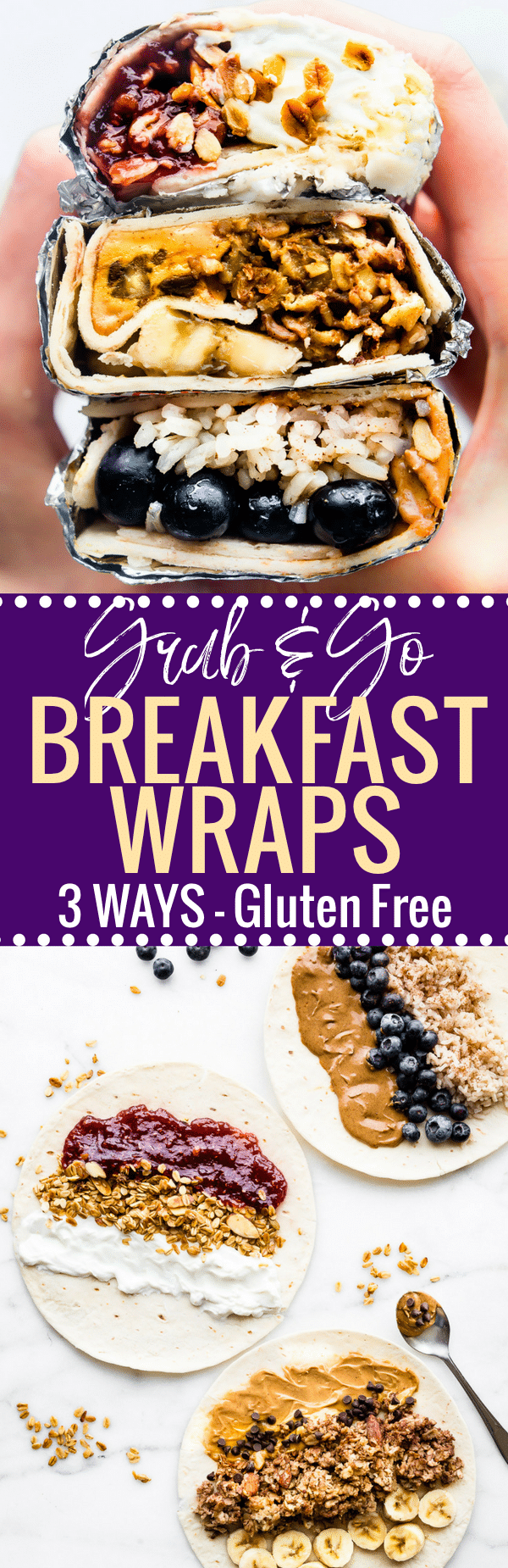 These sweet Gluten Free breakfast wraps are the perfect grab and go breakfast! Portable, freezer friendly, and filled with wholesome simple ingredients! Literally a healthy breakfast bowl wrapped up to go, 3 ways! Healthy breakfast wraps will satisfy your hunger and busy schedule. www.cottercrunch.com #udisglutenfree