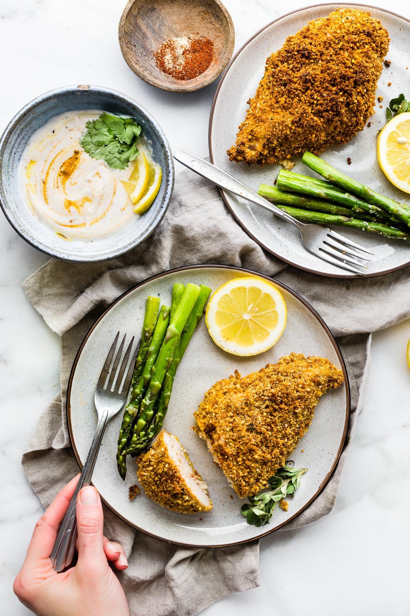 Gluten-free Panko Crusted Paprika Chicken recipe! A baked chicken recipe with gluten-free panko bread crumbs and paprika spices! Easy, quick, one pan meal.