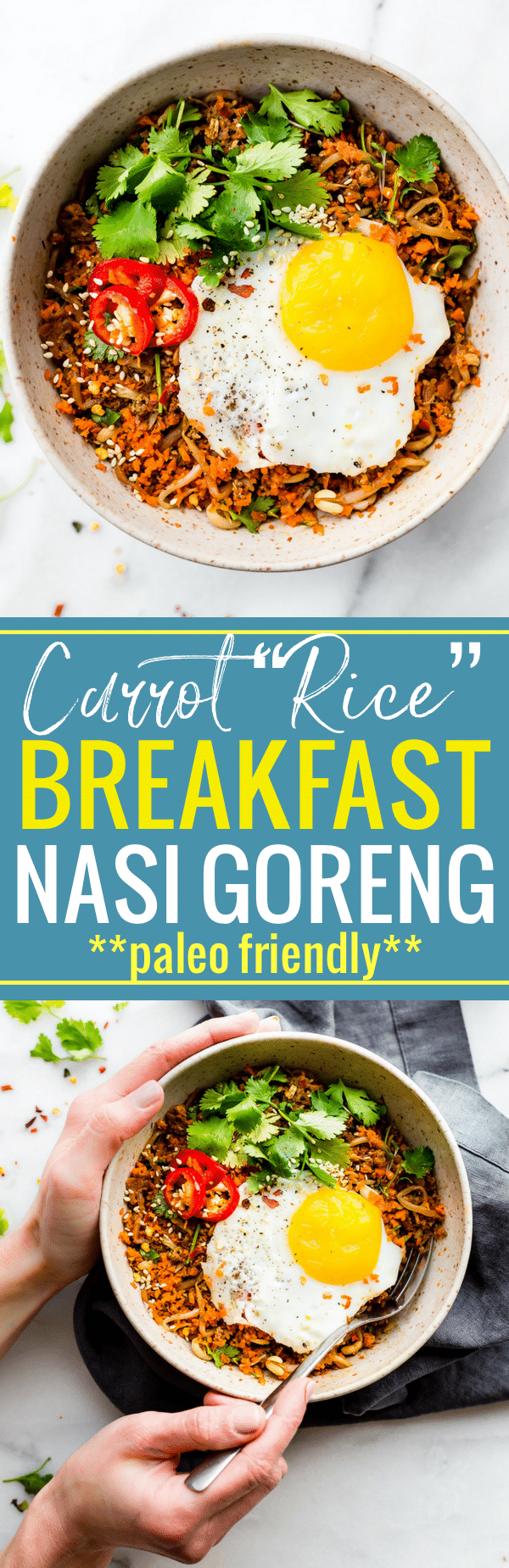 "This Quick Carrot Rice Breakfast Nasi Goreng is the perfect way to utilize those leftover veggies! A stir fried ""carrot rice"" mixed with egg and sausage. A Indonesian style breakfast Nasi Goreng that's paleo friendly, super flavorful, and packed full of protein and veggies! Cook and serve all in 30 minutes! www.cottercrunch.com"