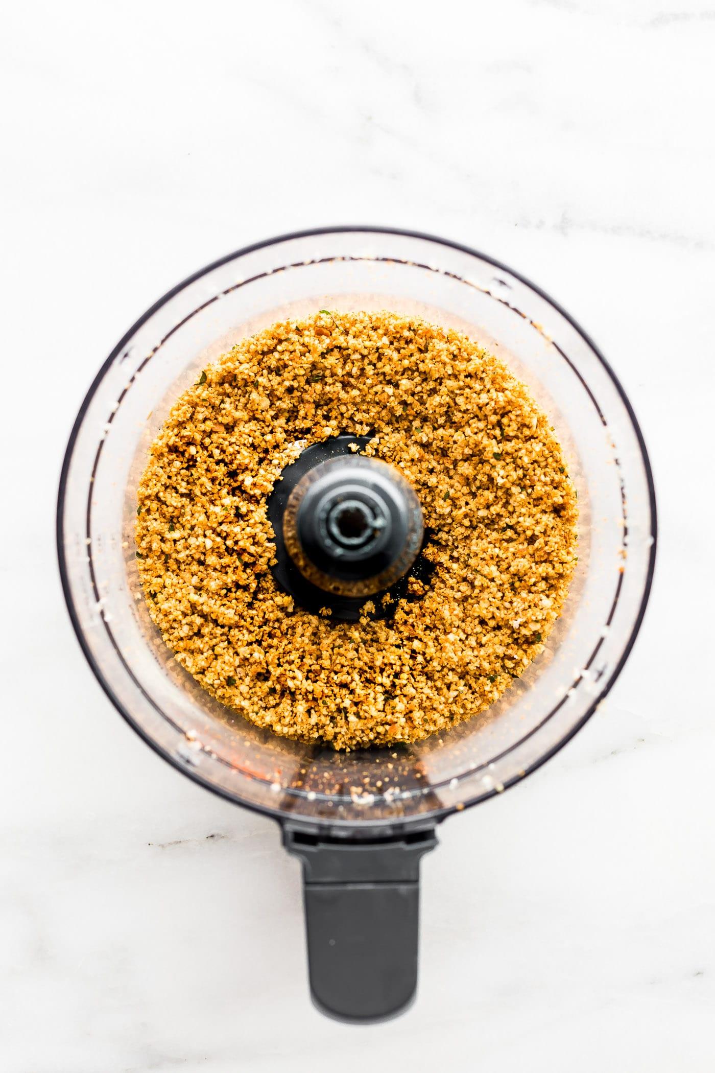 Gluten-Free Panko breadcrumbs in a food processor