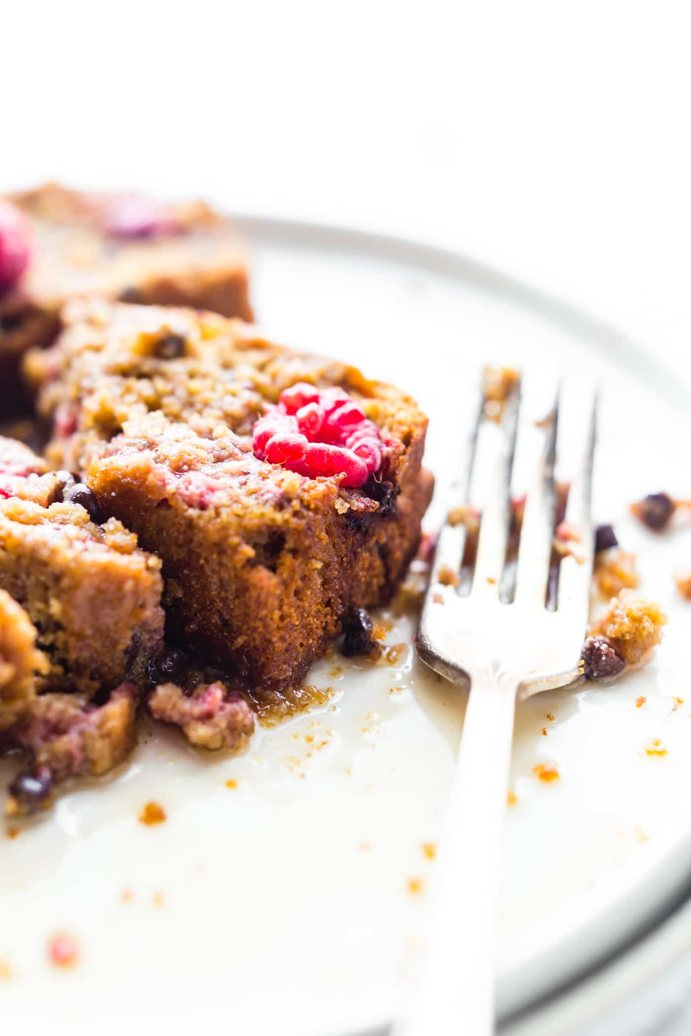 """A Gluten Free Chocolate Raspberry Pancake Bread recipe that's great for brunch or breakfast. It's simple to make with wholesome ingredients. An allergy friendly and vegan friendly """"quick"""" pancake bread recipe with the just the right fruit and chocolate combo. Freezer friendly too!"""