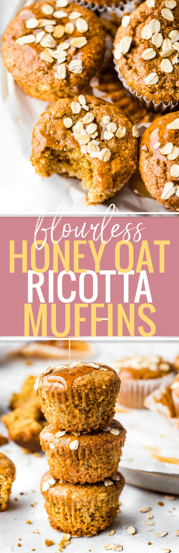 These Flourless Honey Oat Ricotta Muffins are easy to make for a healthy breakfast or snack! A Gluten-free Ricotta Muffins recipe that's honey sweetened and rich in protein, fiber, and calcium. Flourless baking made quick and simple. www.cottercrunch.com