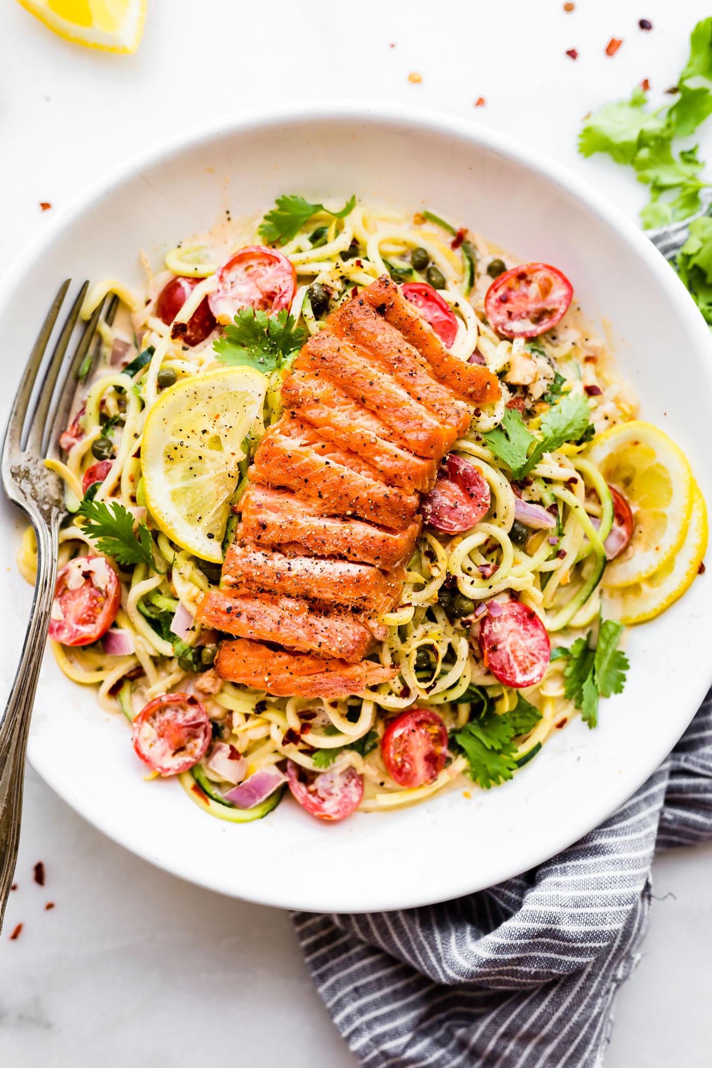 Cajun Smoked Salmon Zucchini Noodles Salad {Paleo, low carb friendly}