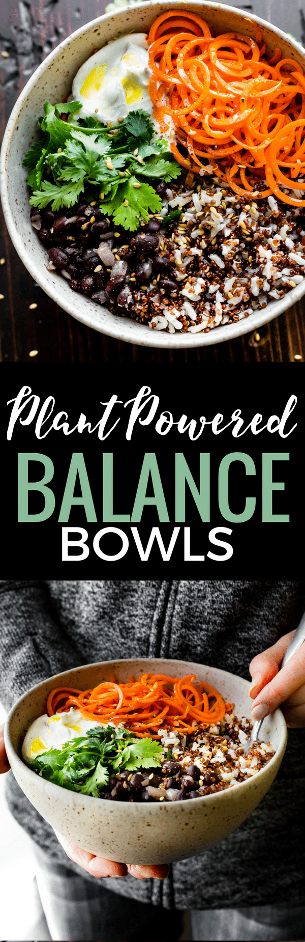 """Gluten free Balance Bowls! No matter what you call these plant powered """"balance bowls""""— Powerbowls, buddha bowls, Macro Bowls, Quinoa Bowls, etc. They truly are easy to make! A healthy meal prep bowl packed full of balanced macronutrients, vitamins, minerals, and more! www.cottercrunch.com"""