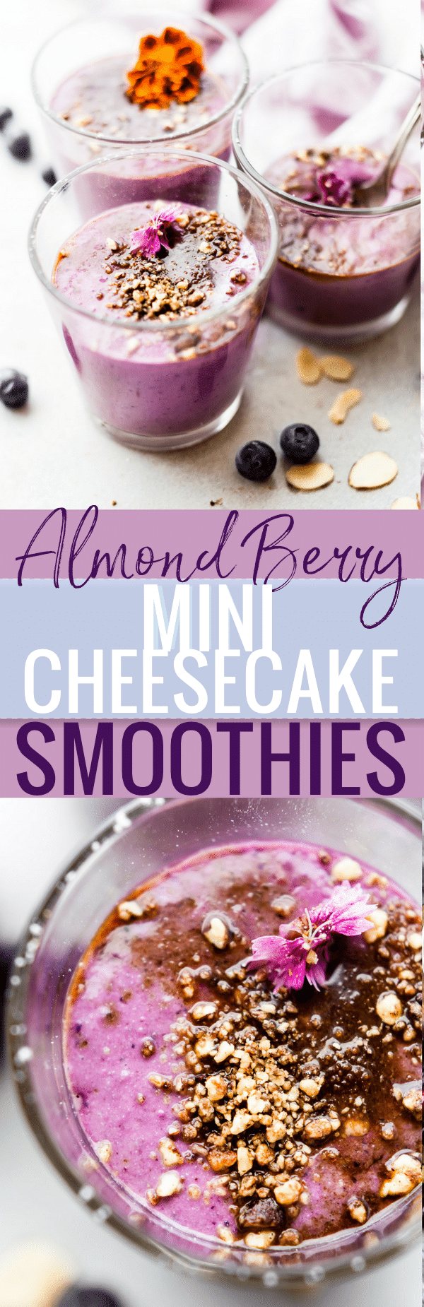 Berry Mini Cheesecake Smoothies packed with protein, wholesome ingredients, & vegan option. No protein powder needed. A tasty breakfast or healthy dessert! www.cottercrunch.com
