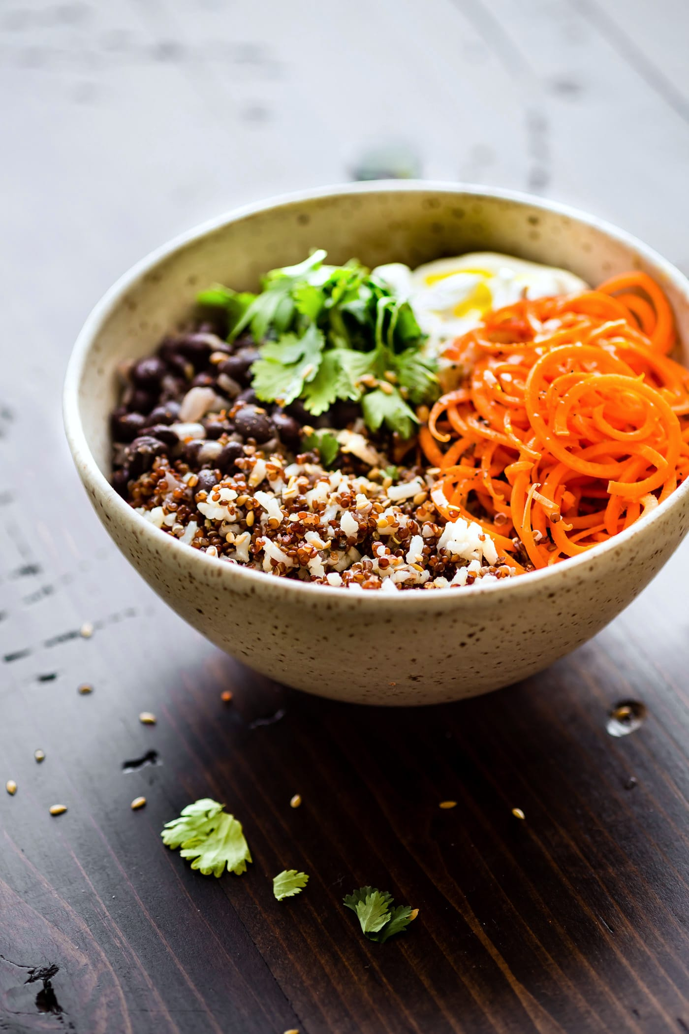 """Gluten free Balance Bowls! No matter what you call these plant powered """"balance bowls""""— Powerbowls, buddha bowls, Macro Bowls, Quinoa Bowls, etc. They truly are easy to make! A healthy meal prep bowl packed full of balanced macronutrients, vitamins, minerals, and more!"""
