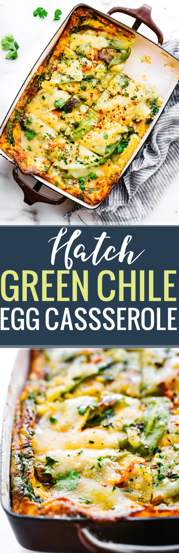 This Roasted Green Chile egg casserolemakes for a quick breakfast, lunch, or dinner! An egg casserole with layers of green chiles, creamy artisan cheese, spinach, and other vegetables. It's wholesome yet light and delicious! Grain free, gluten free, and easy to make.www.cottercrunch.com