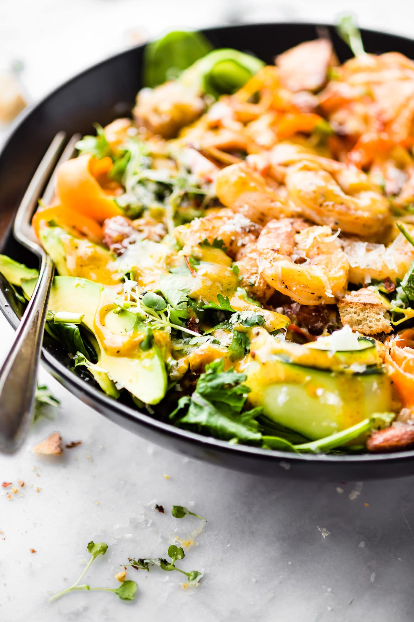 Spicy shrimpCaesar Spinach salad! A quick light meal for lunch or dinner! Spicy shrimp & homemade Caesar dressing make this aflavorfulProtein-RichSalad!