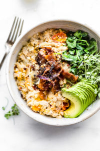 Savory Slow Cooker Oatmeal with Crispy Bacon