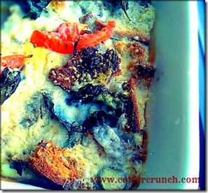 -persimmon and sage sausage bread pudding