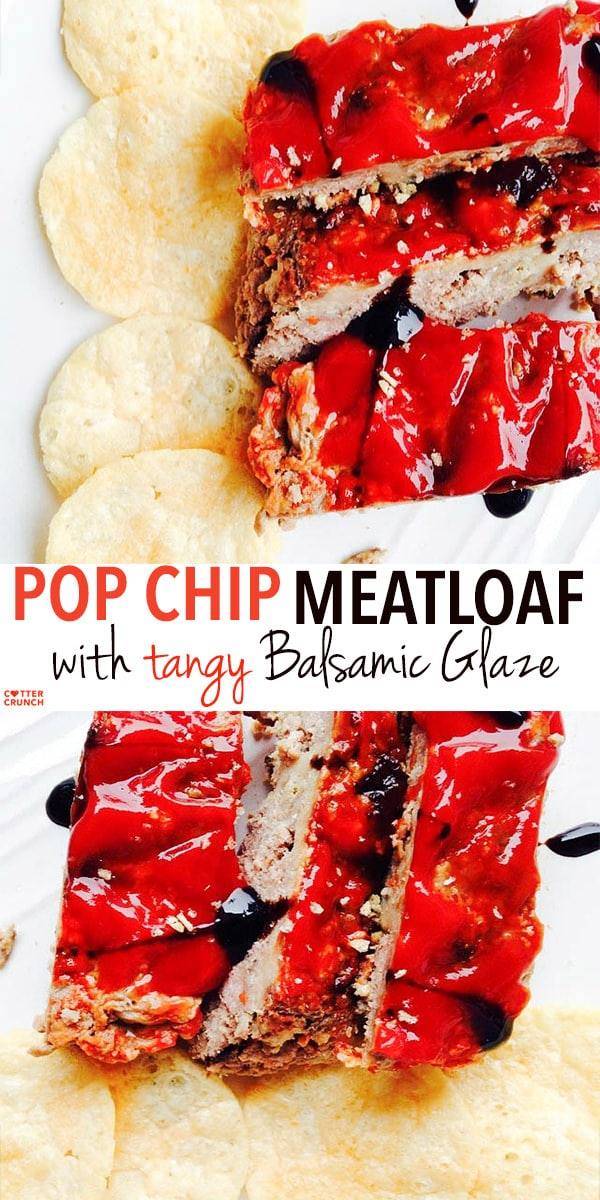 pop chips meatloaf with tangy balsamic glaze. (gluten free). Instead of using bread crumbs, just crumble sea salt popchips into your meat loaf. It's amazing , healthy, tasty, and kid friendly!