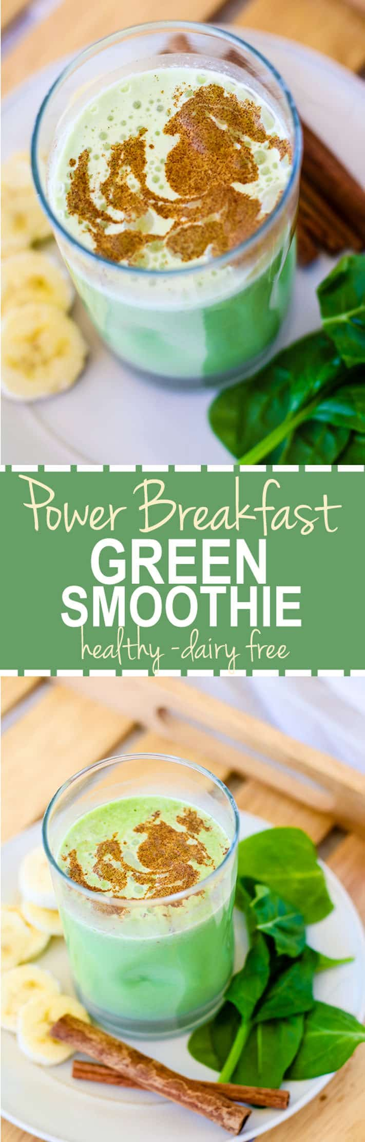Good for You Naturally Green Recipes - POWER breakfast Green Smoothie recipe with a pinch of matcha! Protein packed, dairy free, and healthy.