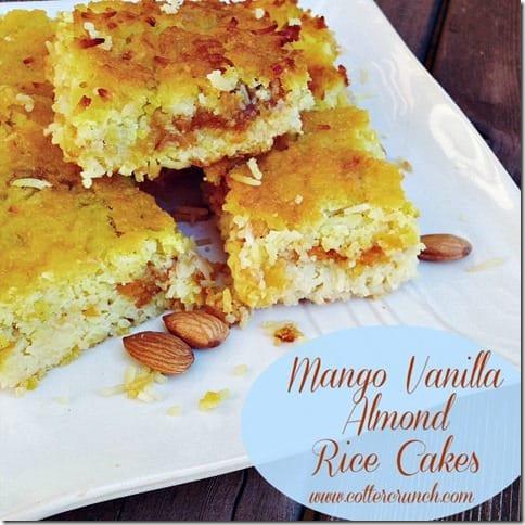 mango vanilla almond rice cakes