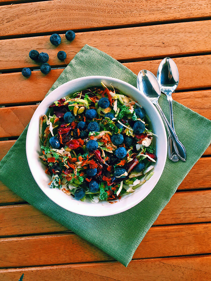 Immunity Boosting Tangy Broccoli and Kale Slaw Salad with Berries