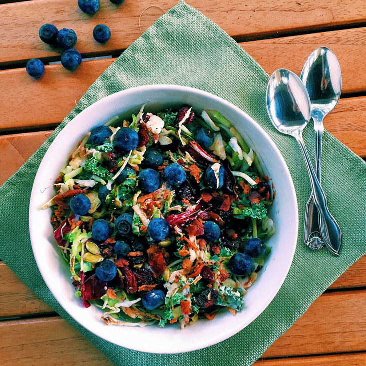 Immunity Boosting Tangy Broccoli and Kale Slaw Salad with Berries/