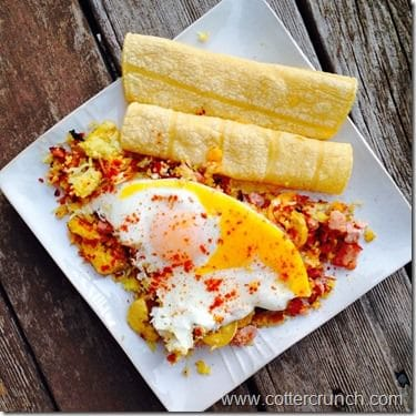 plantains,rice, bacon, eggs