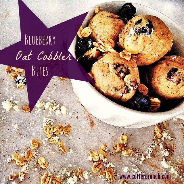 blueberry oat granola bites (GF). Perfect snack bites or breakfast on the go! Full of fiber, natural sugars, and rich in antioxidants with the addition of dried berries! www.cottercrunch.com