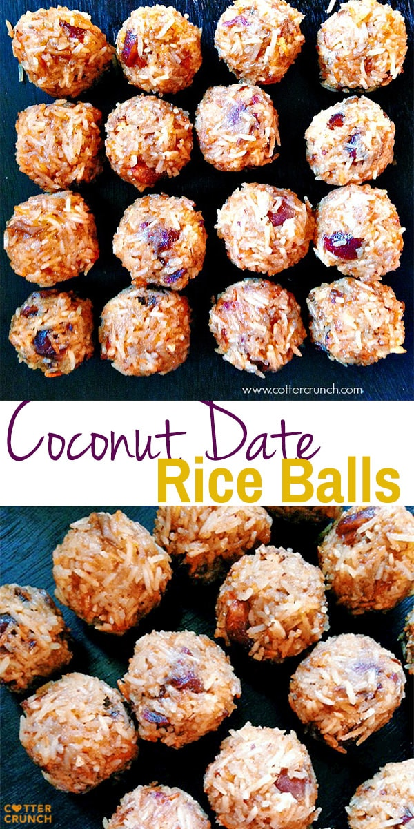 coconut date rice balls made from leftover white rice! naturally gluten free and great snacking or even for athletes and fuel! My favorite kitchen hack.