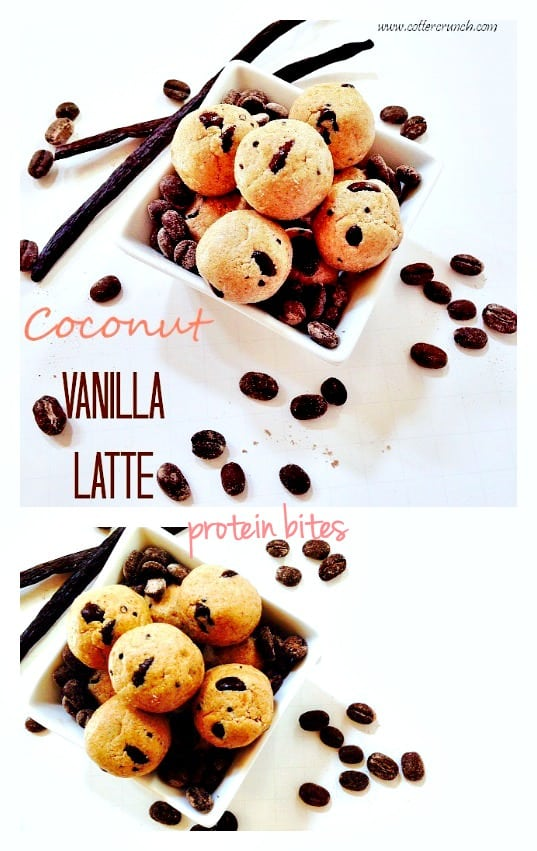 paleovegan friendly coconut vanilla latte protein bites! Great for breakfast on the go or post workout snack