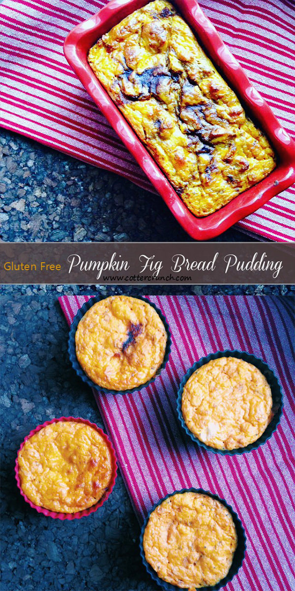 Vegan and Paleo fig pumpkin bread pudding and muffins. Nut free option as well. These are great for breakfast on the go or part of brunch. they accommodate all food allergies! So delicious!
