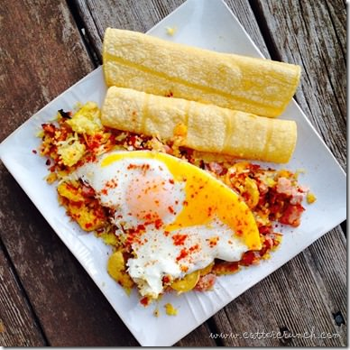 plantains,rice, eggs