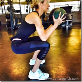 low squat with med ball