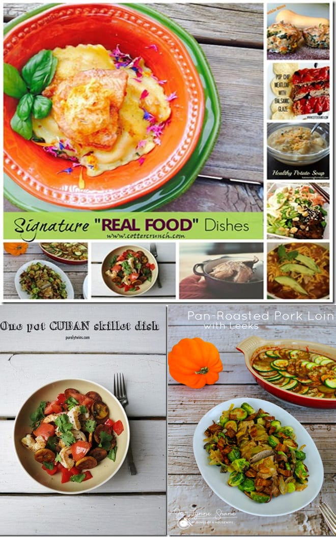 "A round up of ""signature dishes""- healthy real food based recipes from my favorite food bloggers. www.cottercrunch.com"