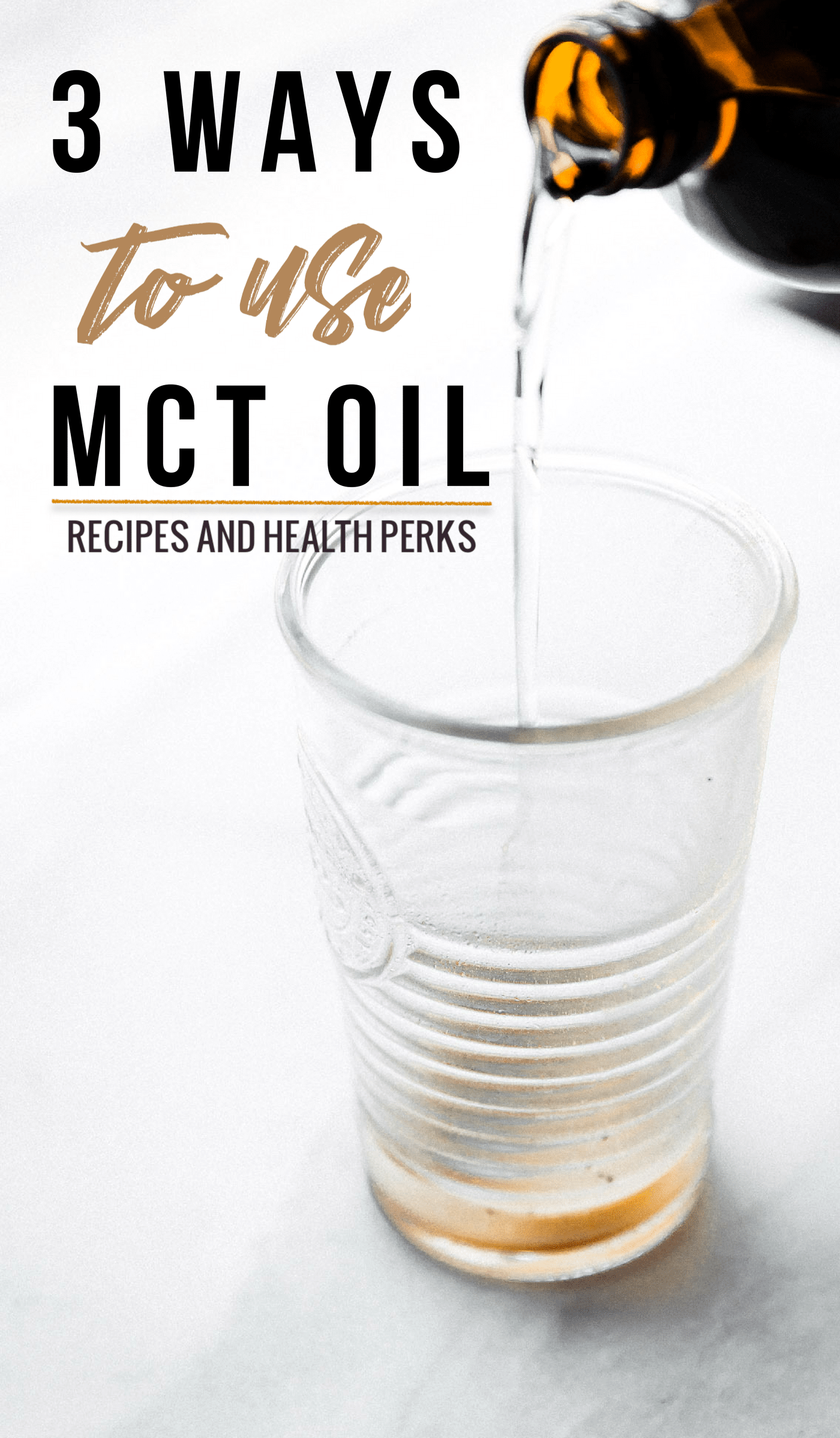 What is MCT oil? Learn more about this beneficial saturated fat, 3 ways to use MCT Oil, and how to Incorporate MCT Oil Into Your Daily the diet. This Includes health benefits of MCT oil, recipes to try, plus quality MCT oil supplements. You'll love the butter-less iced bulletproof coffee latte recipe!#paleo #vegan #nutrition #healthy