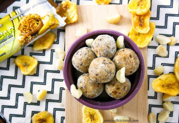banana mac nut muffin protein bites