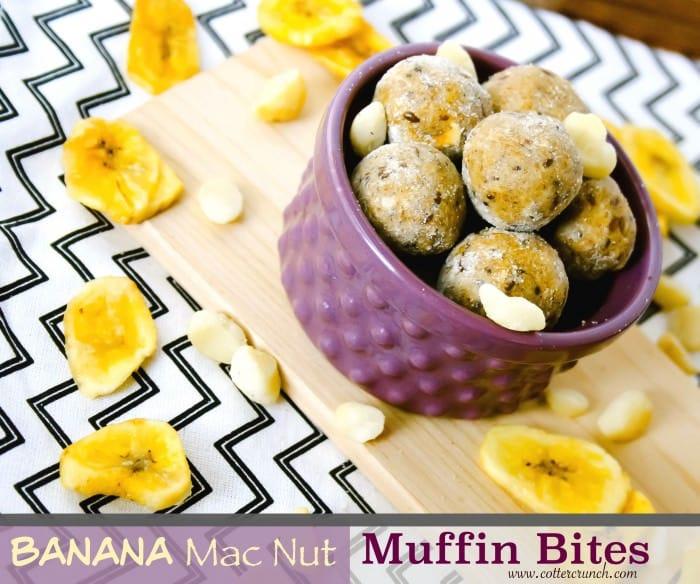 banana mac nut muffin bites