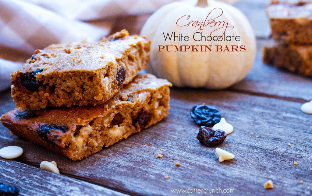 cranberry white choc pumpkin bars (GF)