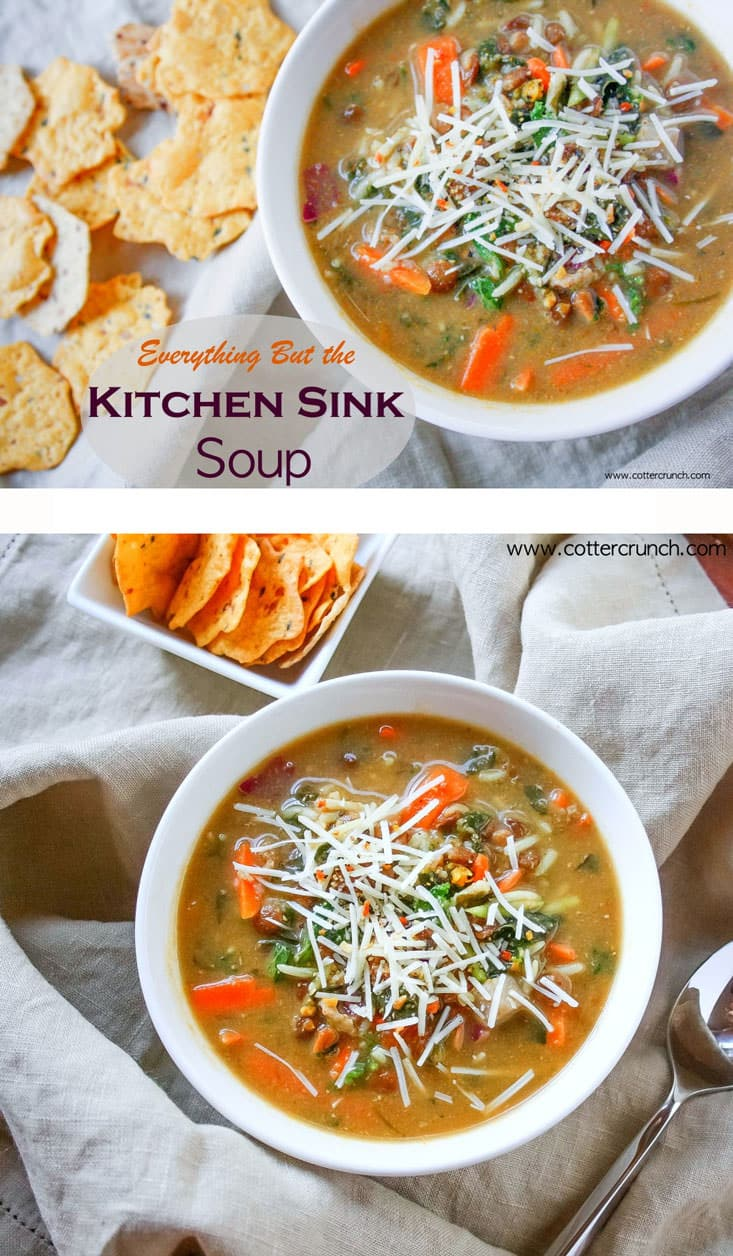 kitchen sink soup - gluten free and easy to make with leftovers! So good for those last minute meals. Healthy and packed with veggies and protein!/ Gluten free and vegan friendly