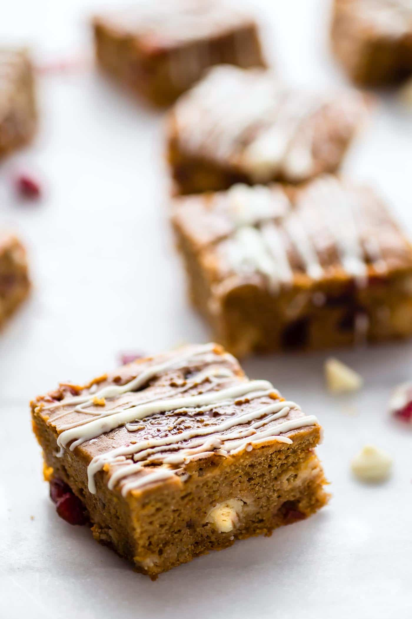 dessert bars with white chocolate, cranberries, and pumpkin