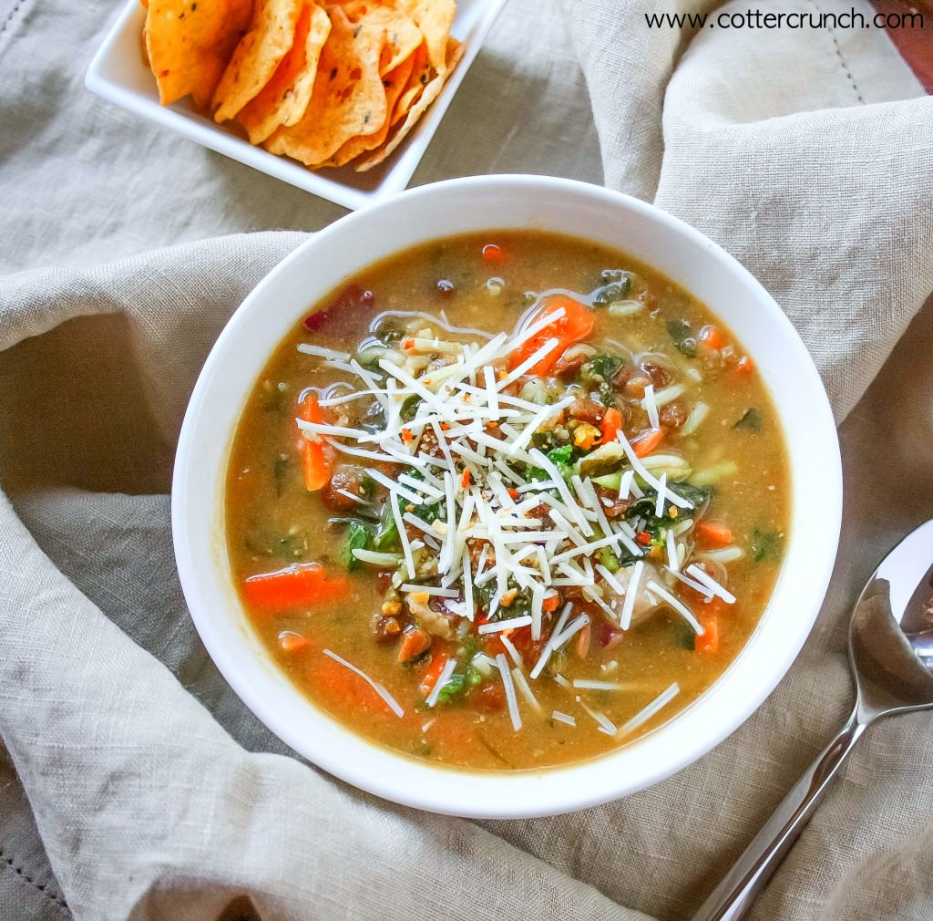 Everything but the kitchen sink Gluten Free soup - Vegan option. Budget friendly. #glutenfree www.cottercrunch.com @cottercrunch