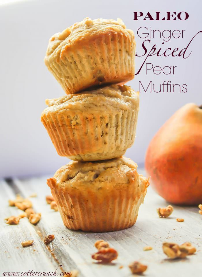 paleo ginger-spiced pear muffins