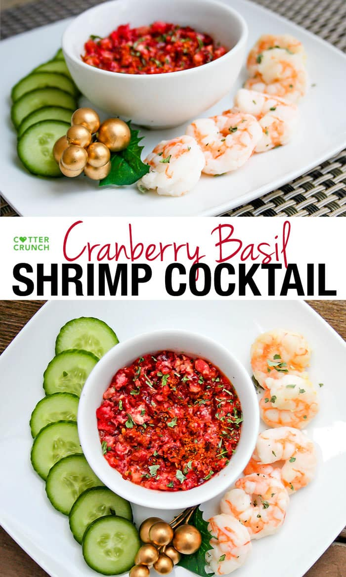 Shrimp cocktail can be so much more than plain cocktail sauce! This cranberry basil shrimp cocktail is a refreshing and healthy appetizer that's naturally gluten free, paleo, low carband easy to make.