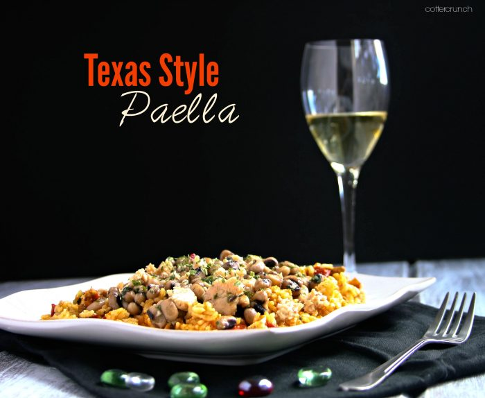 A Texas Style twist on Spanish paella recipe! This gluten free paella is full of beneficial fiber and a spicy, Texas kick. Get the easy paella recipe here!