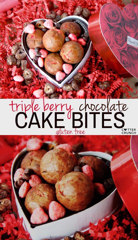 Triple Berry Gluten Free Chocolate Cake Bites! Healthy No Bakes Chocolate Cake bites made in no time! And so delish!