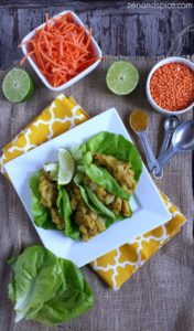 Curried Red Lentil Lettuce Wraps