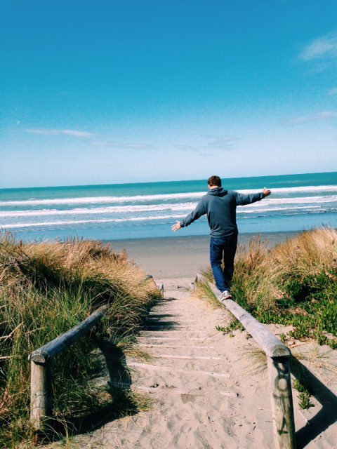 Walking the beach in Christchurch, New Zealand